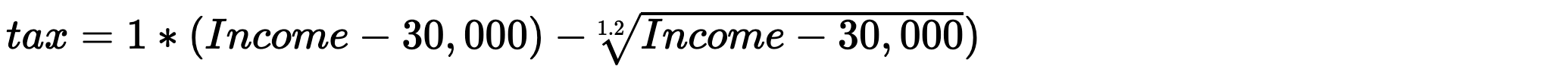 tax formula with subs